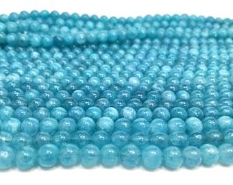 """6mm Natural Aquamarine Gemstones Full 16"""" Strand (65 Round Beads)"""