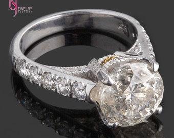5.22 Carat EGL Certified Round Cut Diamond Engagement Ring, Solitaire Diamond Ring, Vintage Style Diamond Engagement Ring,Handmade, 18k Gold