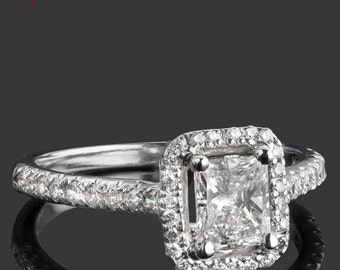Princess Cut Diamond Engagement Ring, 1.11 TCW, Princess Cut Natural Diamond, Halo Engagement, Halo Diamond Ring, 14k White Gold Ring, Rings