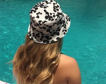 Black and White Women's Reversible Bucket Hat, Floral, Orange Stripe, Sun Hat, Beach Hat, Handmade, Summer Hat, Gift, Teen hat, Canvas hat,