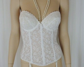Carnival - White Lace Merry Widow Corset - Strapless - Garters - Size 34C