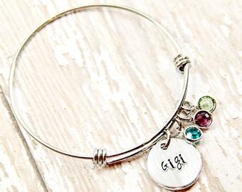 Gigi Bracelet - Mother Bracelet - Grandma - Nana - Personalized - Mimi  - Birthstone - Hand Stamped - Bangle Bracelet