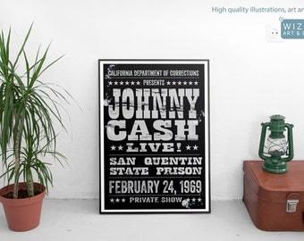 Johnny Cash billboard gig poster - Saint Quentin State Prison - Retro Vintage Authentic