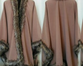 Cashmere Camel  Poncho,     Luxury Wool Blend Cape in Faux Fox Fur, Women's Clothing  Oversize Cashmere Outwear