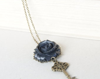 Black Rose Key Pendant Necklace - Bronze Necklace, Resin Rose, Flower Jewelry, Gift Idea, Gift for Her, Long Necklace, Vintage Inspired,