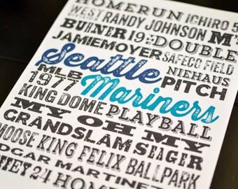 Seattle Mariners Subway Poster Print - Digital File - Wall Art - Typography