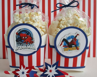 ONLY 5 SETS LEFT! Spiderman Favor Boxes, Marvel Spiderman Party Favors,Spiderman Party, Spiderman Birthday Favors, Spiderman Popcorn Bags.