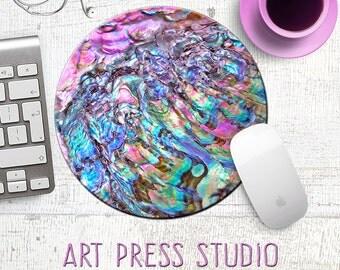 Pink Abalone Mouse Pad, Rainbow Seashell MousePad, Beachy Boho Chic Art Mouse Pad