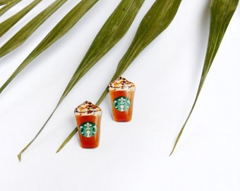 Starbucks studs / Starbucks latte studs / Coffee studs / Coffee jewelry / Latte earrings / Starbucks earrings / Starbucks lover