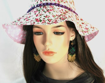 Girl's Flower Sun hat with Purple Sequin band
