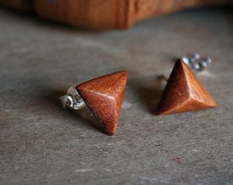 1 pair mahogany wood wooden earrings 12 mm plug/nut 925 Silver