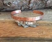 Jesus and Coffee Bracelet, Copper, Hand Stamped with Jesus and Coffee with a Whimsical Heart stamped between Jesus and Coffee