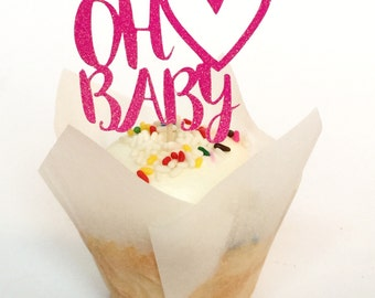 Oh Baby cupcake toppers. Baby Shower. Gender Reveal. Available in other colors