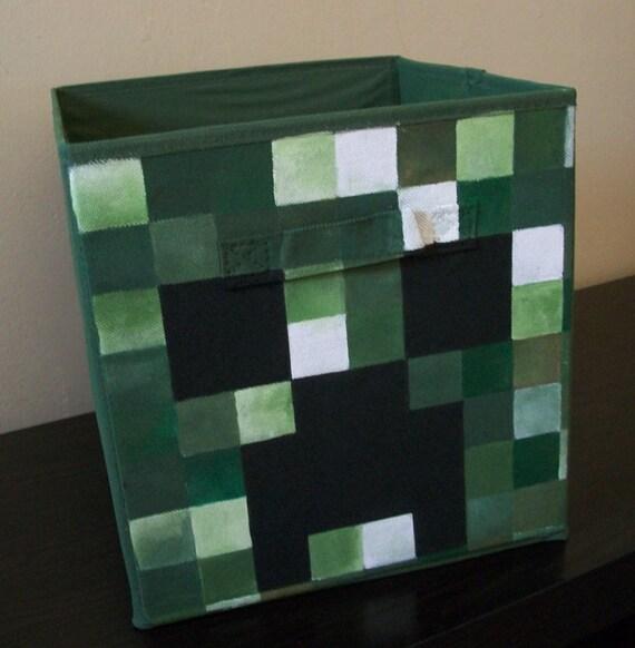 Creeper Minecraft Storage Fabric Bin Hand Painted Kids Game