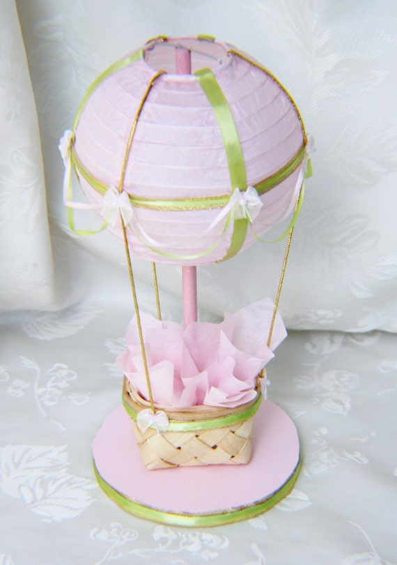 Pink green and gold hot air balloon centerpiece