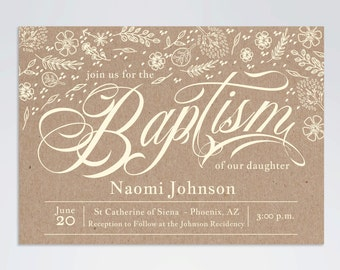 Rustic Vintage Kraft Baptism Invitation, Kraft Invitation, Printable, DIY, 5x7, PDF, Digital File