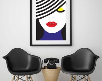 "Pop Art Poster ""Face Illustration"", Wall Art, Home Decor, Beauty Print, Glamour Decor, Fashion Illustration, Colorful Poster."