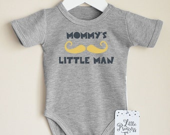 Mommy's Little Man Baby Romper. Funny Baby Boy Clothes. Mustache Baby Bodysuit. Hipster Baby Boy Clothes. Birth Announcement