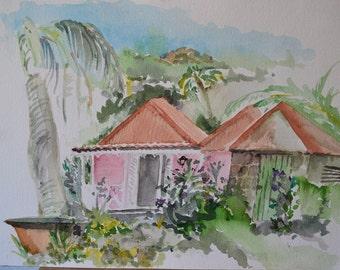 "Vintage Watercolor, Hawaiian Island Colonial Home & Tropical Landscape, Original 10"" x 14"", Unsigned"