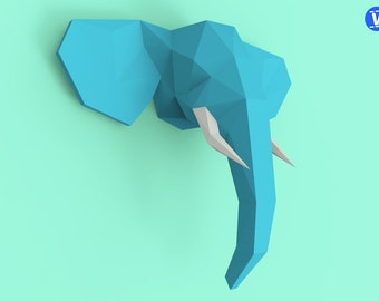 Elephant Head 2 Papercraft PDF Pack - 3D Paper Sculpture Template with Instructions - DIY Wall Decoration - Animal Trophy