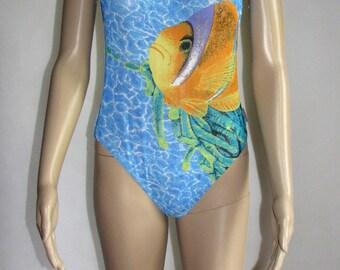 Exotic SWIMSUIT one piece SWIMWEAR pattern vintage bathing suit fish sea