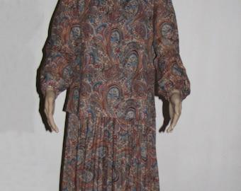 Vintage DRESS Damon Dress full circle retro cut 1980s dress