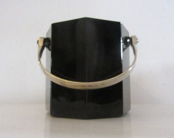 ARCOROC  - Octime pattern  - Black Glass Ice Bucket with Chrome Handle - Made in France - 1980s