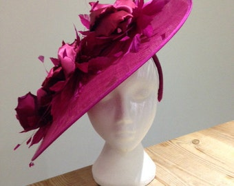 Dramatic Bright Pink Saucer hat, headband mounted. Feathers, Flowers, Royal Ascot, Wedding, Races