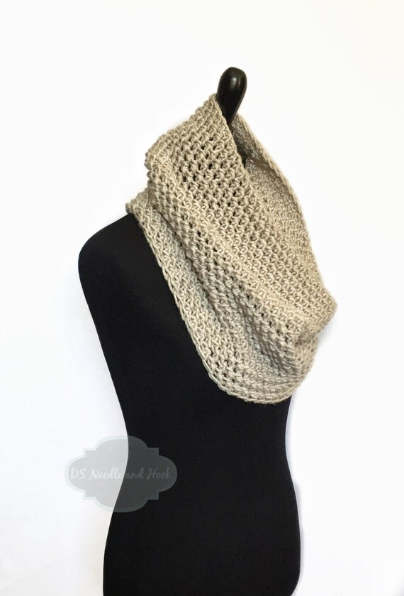 Taupe Crochet Scarf, Brown Cowl, Light Brown Infinity Scarf, Khaki Neck Warmer, Handmade Tan Crochet Scarf, Beige Snood Scarf