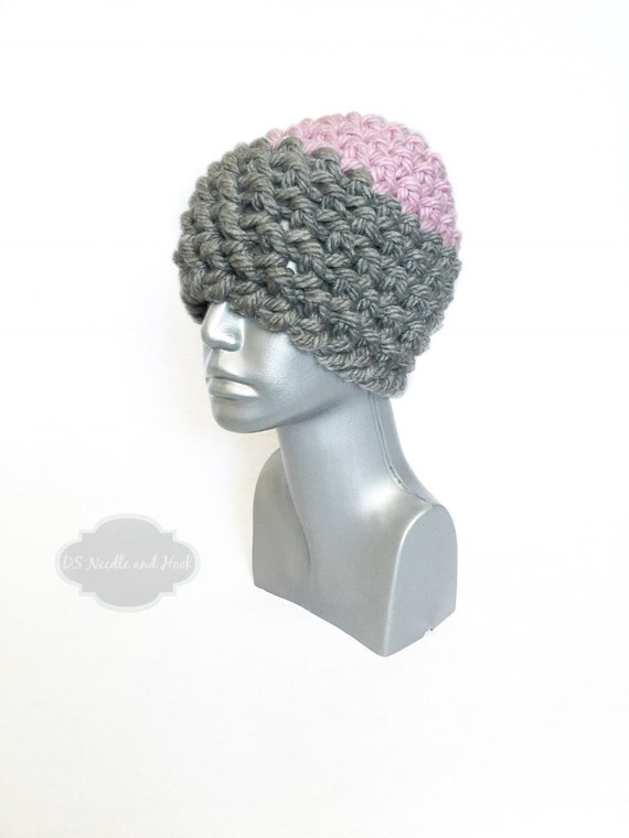Grey and Pink Women's Beanie,  Chunky Grey Crochet Hat, Pink Winter Hat, Pink and Gray Beanie, Ski Cap