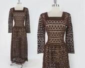 Vintage 60's 70's Hippie Festival Sheer Cocoa Crochet Lace Dress Gown L