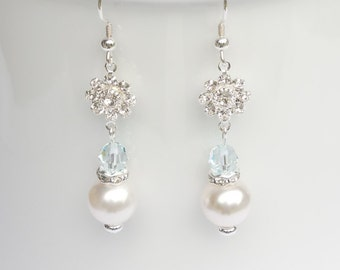 Sterling silver earrings with Swarovski pearls and crystals