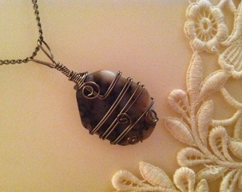 Wire-Wrapped Stone Necklace Antique Bronze Wire on Variegated Brown Stone