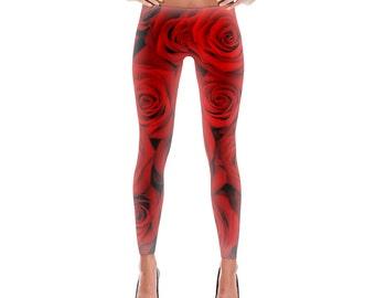 Red Roses Custom Printed Leggings by Legs247