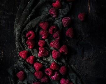 Food Photography, Red Raspberries, Still Life, Food Art, Home Decor, Restaurant Decor, Wall Art, Kitchen Decor, Gift Ideas