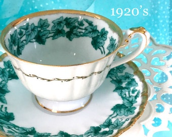Antique Tea Cup and Saucer, Ivy Tea Cup Set, Gold Gilded, Green Wedding Gift, Teal Teacup