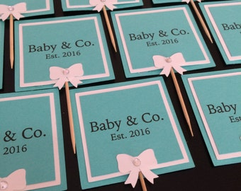 Baby & Co. cupcake toppers, Baby and Co. baby shower, Set of 12