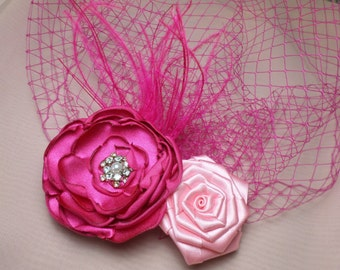 Wedding Hair Flower, Wedding Headpiece, Birdcage Veil, Blusher Veil, Pink Veil, Fascinator, Flower Hair Clip, Bridal Veil, Wedding Flower