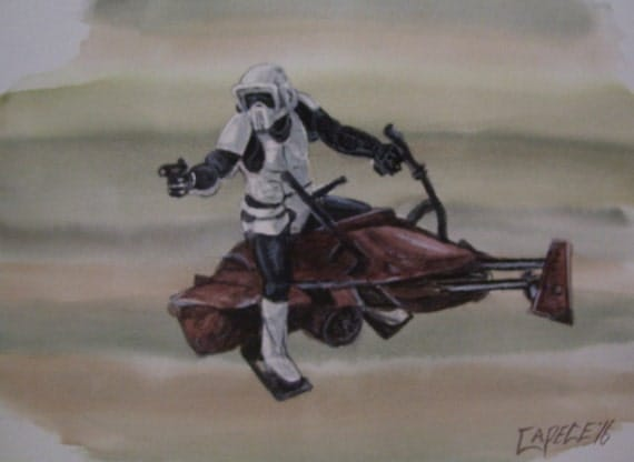 Star Wars,Storm Trooper on Speeder Bike,16x20 Watercolor,One of a Kind,Not a Print,Free Shipping Code SKYE2