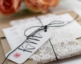 Floral Wedding Invitation. Rustic Wedding Invitation. Handmade