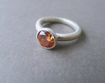 Champagne Lollipop Ring Stacking Sterling Silver Gemstone Ring Brushed Ring Colourful Solitaire Ring