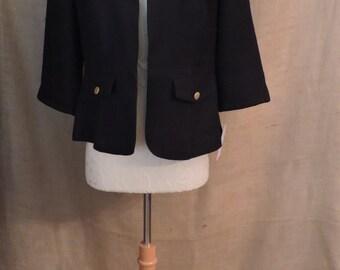 2598 - Reduced! - Vintage R & K Petites Blazer Size 12P Black Solid 3/4 Sleeve Polyester 1980s