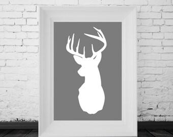 Reindeer Print White Grey, Digital Print, Minimal Animal Art, Modern Wall Poster, Abstract Art, Modern Deer Poster