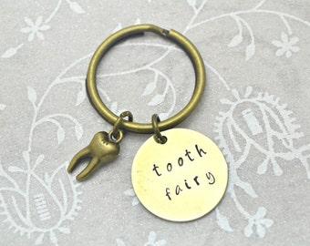 Toothfairy Keychain, Dentist Keychain, Dentist Gift, Mom Keychain, Tooth Keychain, Teeth Keychain, Stamped Keychain, Cute Keychain, Keychain