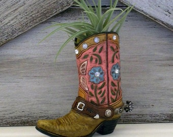 Cowgirl Boot + Air Plant, Cowgirl Gift, Country Wedding, Stocking Stuffer, Boot Planter, Cowboy Boot Planter, Air Plant, Wedding Favor