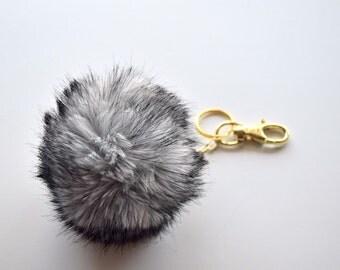 Gray and Black Faux fur pom pom Keychain-Pompom bag Pendant charm