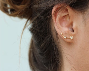 STAR ear climber - gold star ear climbers, gold earrings, ear cuff, star ear crawlers, trepadores, CZ star earrings, star earrings