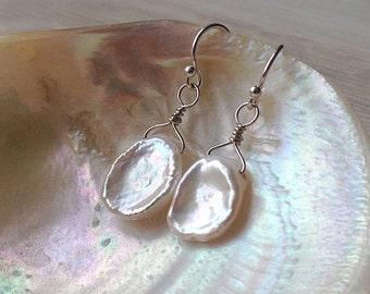 Keshi pearl earrings, large white iridescent petal pearls, sterling silver lustrous cornflake pearls, wedding and bridal stud earrings