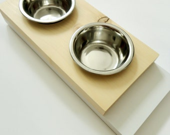 Modern small feeder- Cat or small dogs bowls- Minimal design - Wood and white