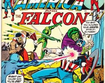 Captain America and the Falcon 163, comic book, Bronze Age, Serpent Squad, Vintage Superhero. 1973 Marvel Comics in NM- (9.2)